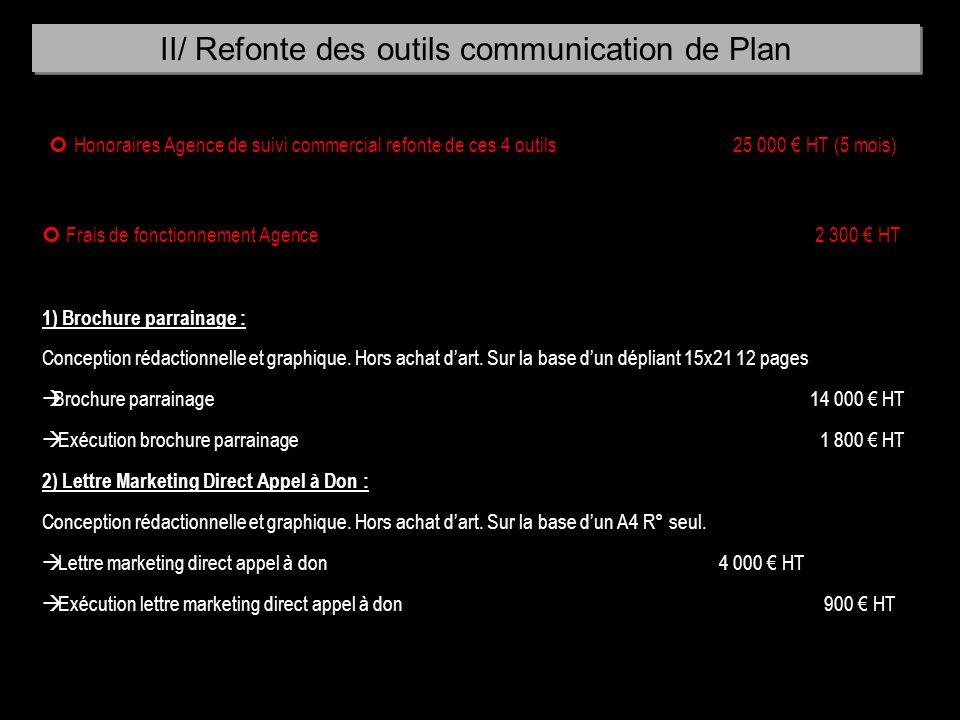 Honoraires Agence de suivi commercial refonte de ces 4 outils 25 000 HT (5 mois) Frais de fonctionnement Agence 2 300 HT 1) Brochure parrainage : Conc