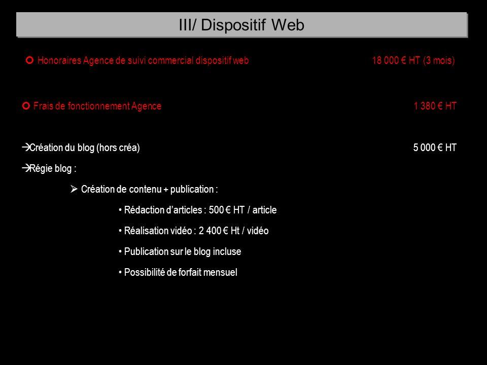 Honoraires Agence de suivi commercial dispositif web 18 000 HT (3 mois) Frais de fonctionnement Agence 1 380 HT à Création du blog (hors créa) 5 000 H
