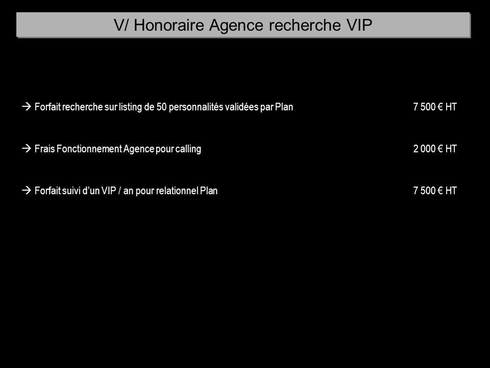 Forfait recherche sur listing de 50 personnalités validées par Plan7 500 HT Frais Fonctionnement Agence pour calling2 000 HT Forfait suivi dun VIP / a