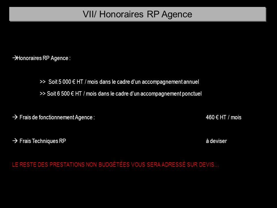 à Honoraires RP Agence : >> Soit 5 000 HT / mois dans le cadre dun accompagnement annuel >> Soit 6 500 HT / mois dans le cadre dun accompagnement ponc