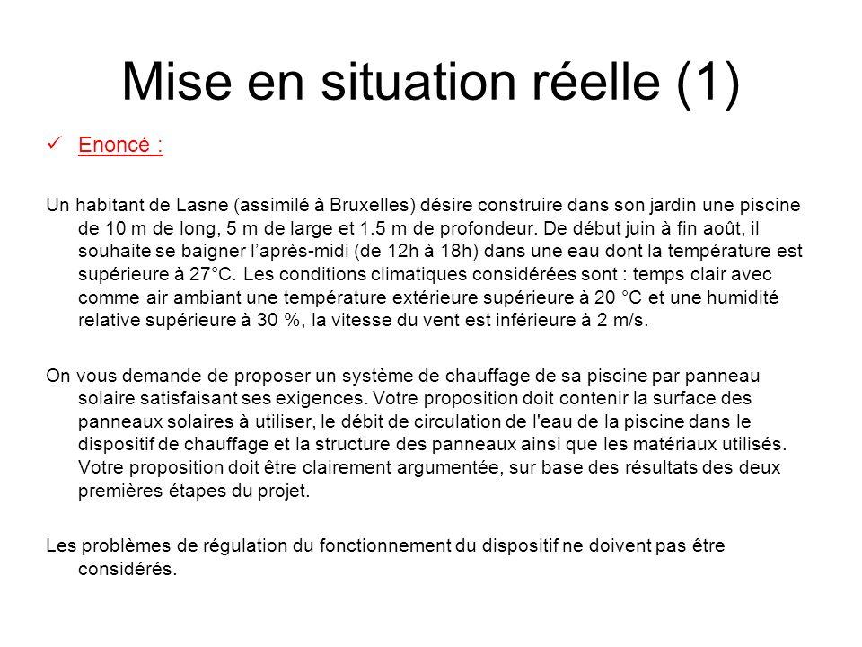 Mise en situation réelle (1) Enoncé : Un habitant de Lasne (assimilé à Bruxelles) désire construire dans son jardin une piscine de 10 m de long, 5 m de large et 1.5 m de profondeur.