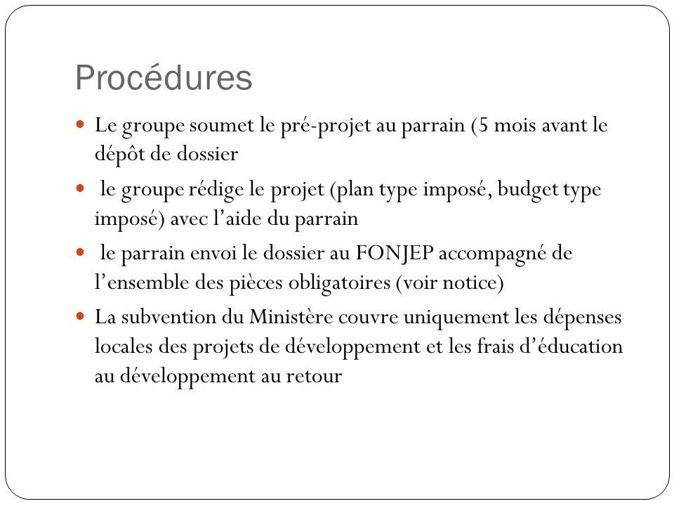Procédures Le groupe soumet le pré-projet au parrain (5 mois avant le dépôt de dossier le groupe rédige le projet (plan type imposé, budget type impos