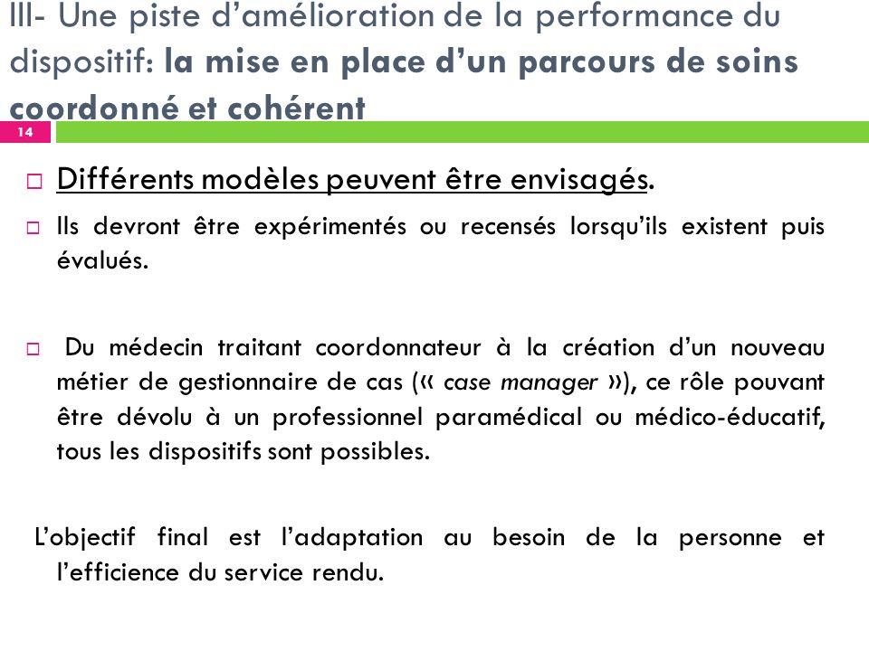 III- Une piste damélioration de la performance du dispositif: la mise en place dun parcours de soins coordonné et cohérent Différents modèles peuvent être envisagés.