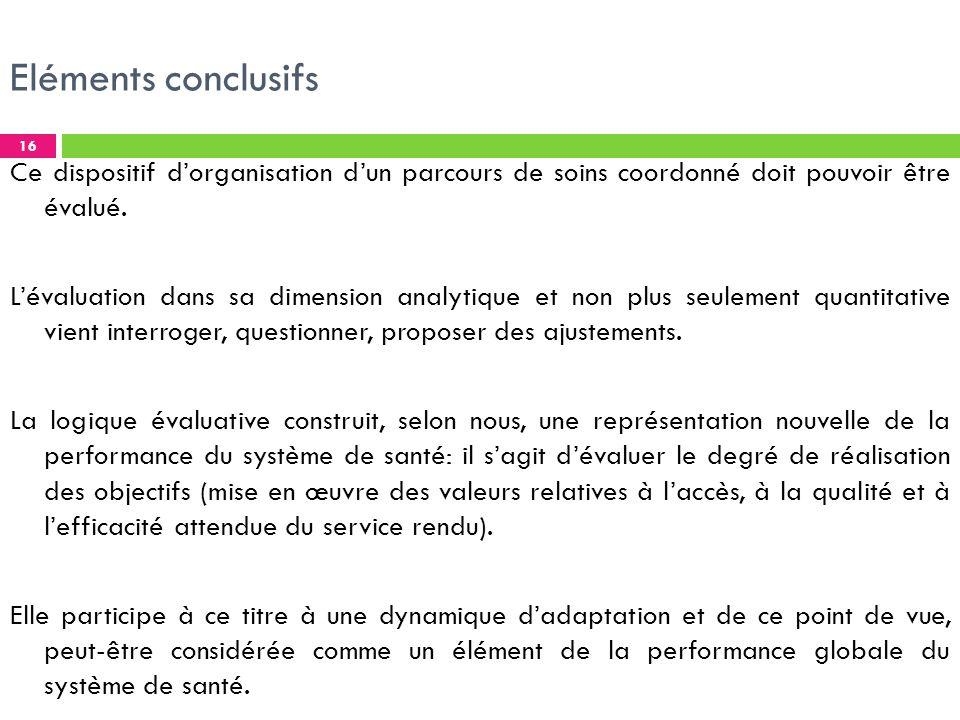 Eléments conclusifs Ce dispositif dorganisation dun parcours de soins coordonné doit pouvoir être évalué.