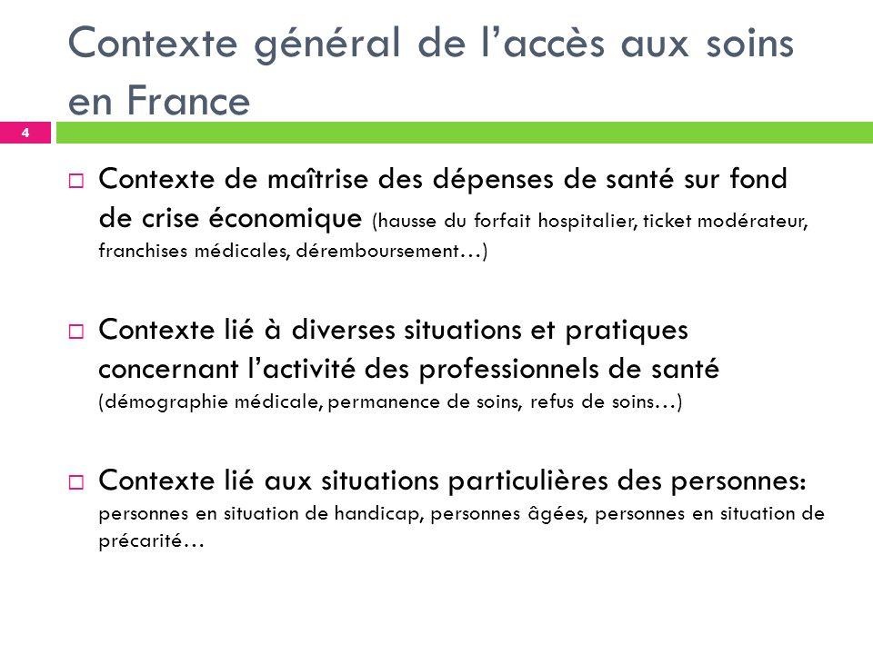 I- Laccès aux soins en France Le système de santé français doit faire face à lheure actuelle au défi de laccès de tous à des soins de qualité sur lensemble du territoire.