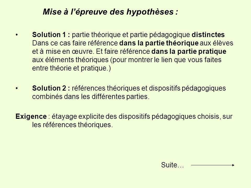 Mise à lépreuve des hypothèses : Solution 1 : partie théorique et partie pédagogique distinctes Dans ce cas faire référence dans la partie théorique aux élèves et à mise en œuvre.