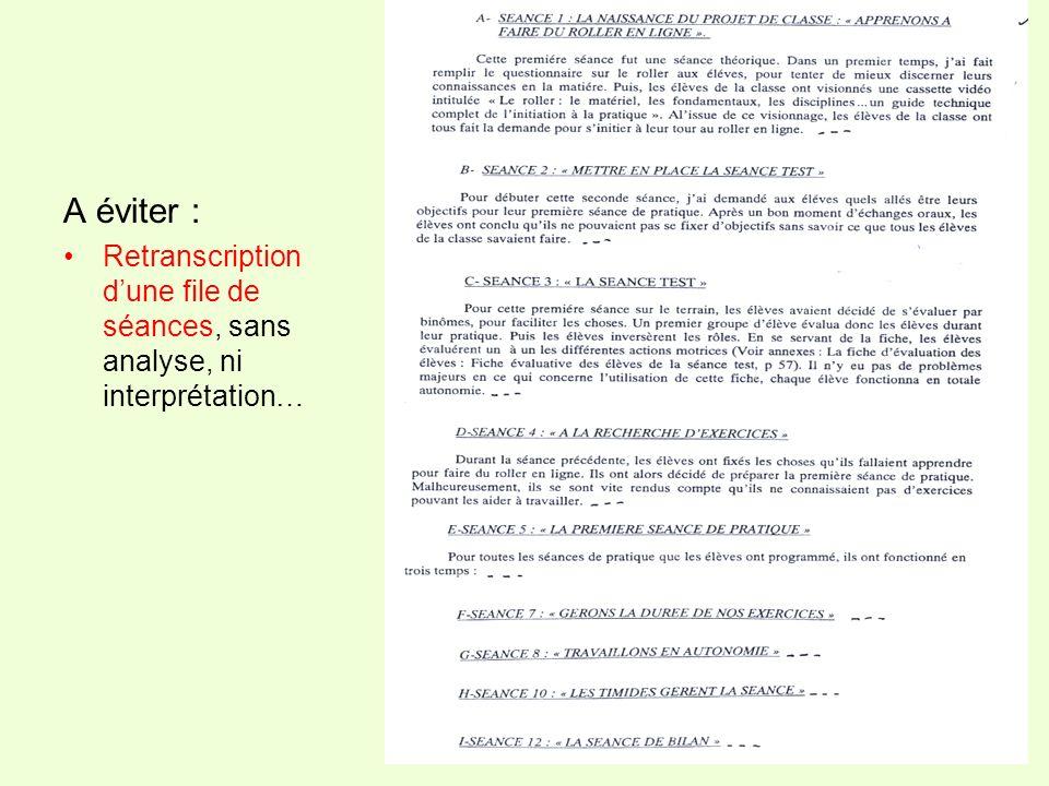 A éviter : Retranscription dune file de séances, sans analyse, ni interprétation…