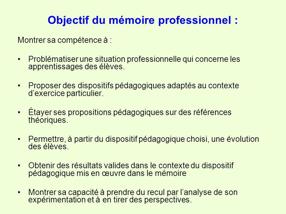 Objectif du mémoire professionnel : Montrer sa compétence à : Problématiser une situation professionnelle qui concerne les apprentissages des élèves.