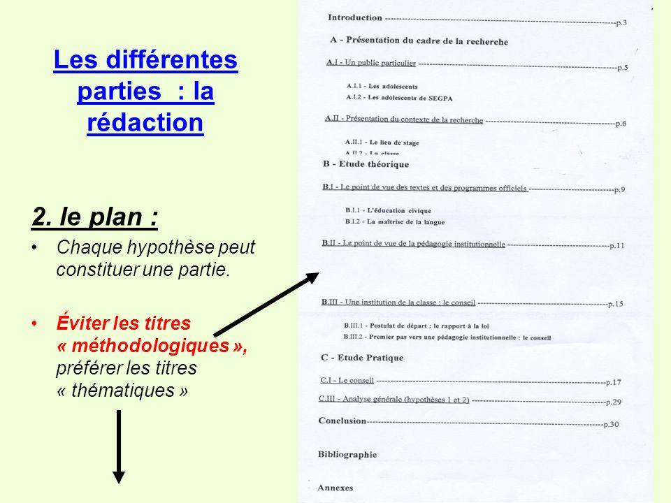 2.le plan : Chaque hypothèse peut constituer une partie.