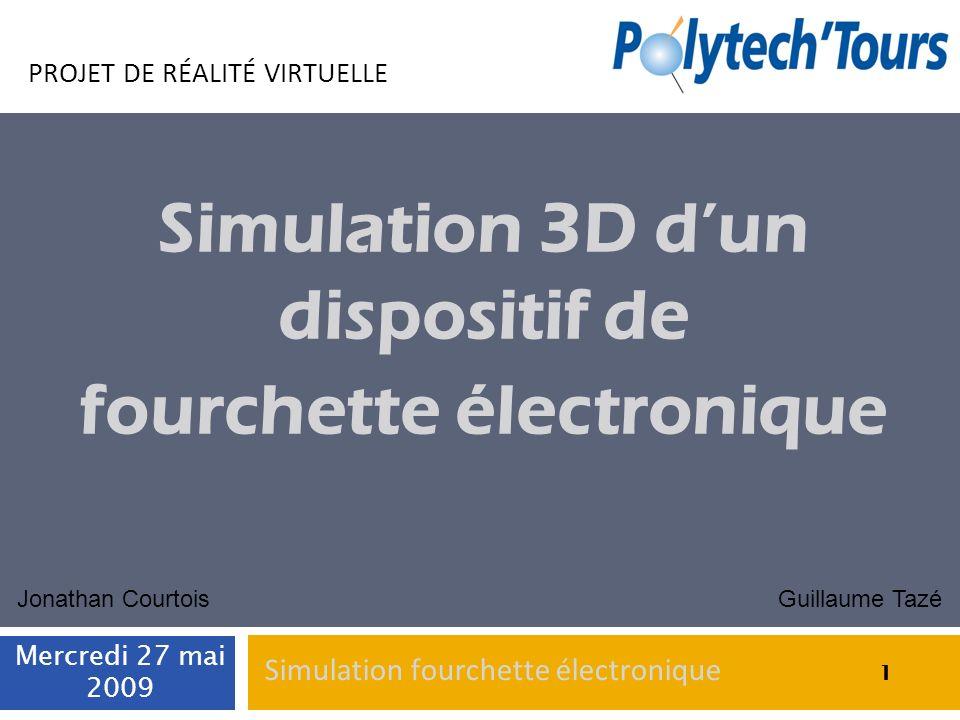1 PROJET DE RÉALITÉ VIRTUELLE Simulation 3D dun dispositif de fourchette électronique Guillaume TazéJonathan Courtois 1 Mercredi 27 mai 2009 1 Simulat