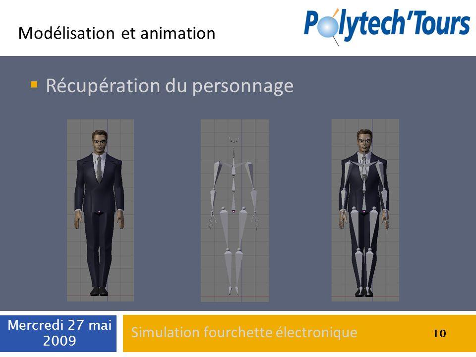 Modélisation et animation Récupération du personnage 10 Mercredi 27 mai 2009 10 Simulation fourchette électronique