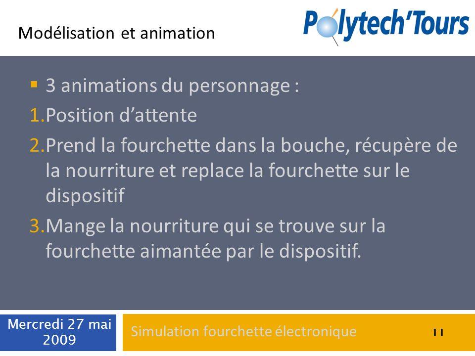 Modélisation et animation 3 animations du personnage : 1.Position dattente 2.Prend la fourchette dans la bouche, récupère de la nourriture et replace