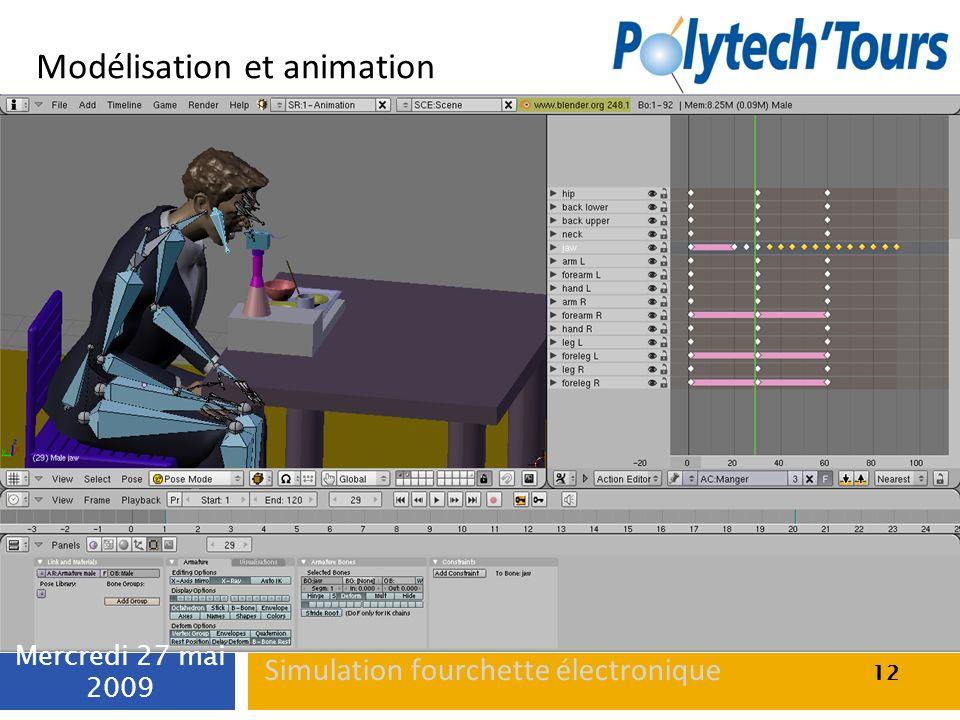 Modélisation et animation 12 Mercredi 27 mai 2009 12 Simulation fourchette électronique