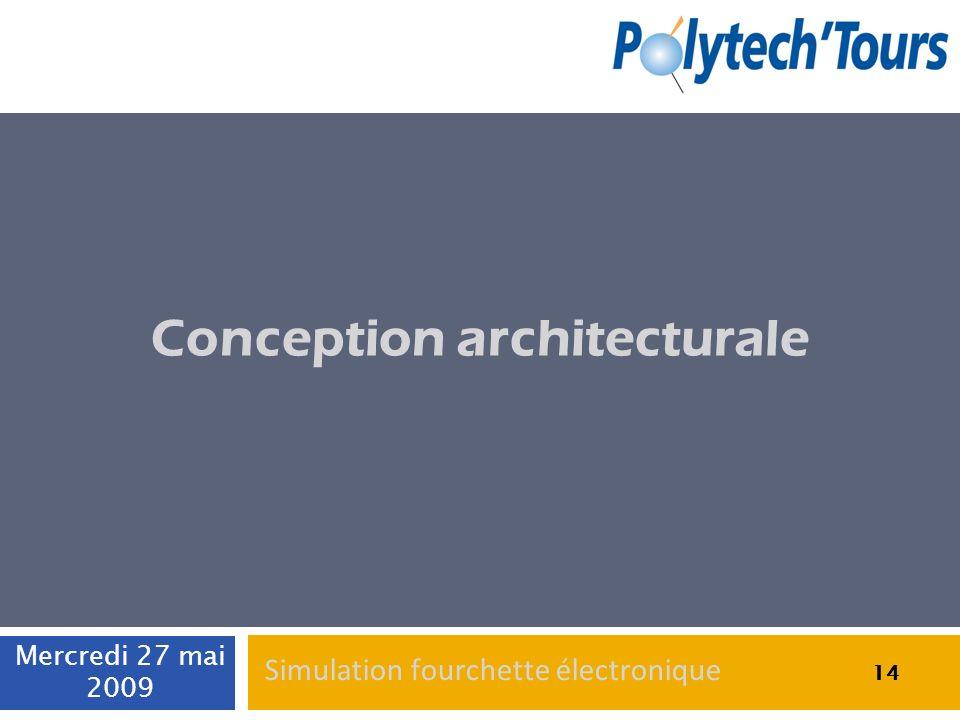 14 Conception architecturale 14 Mercredi 27 mai 2009 14 Simulation fourchette électronique