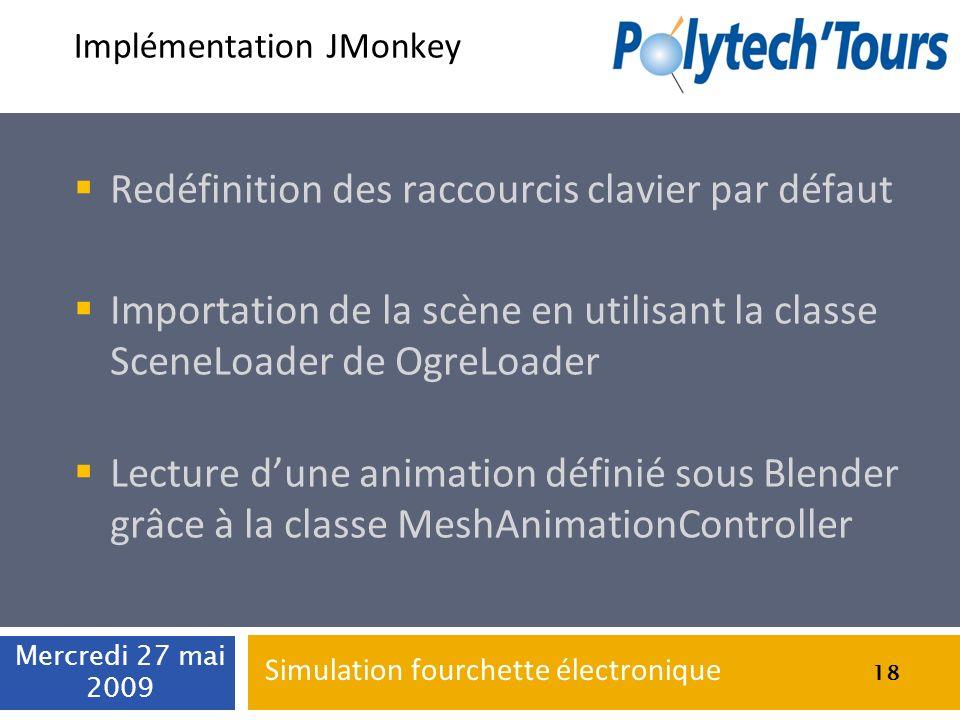 Implémentation JMonkey Redéfinition des raccourcis clavier par défaut Importation de la scène en utilisant la classe SceneLoader de OgreLoader Lecture