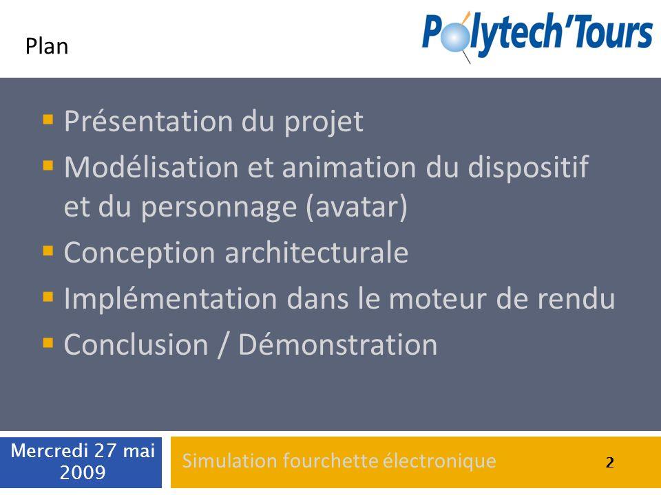 2 Plan Présentation du projet Modélisation et animation du dispositif et du personnage (avatar) Conception architecturale Implémentation dans le moteu