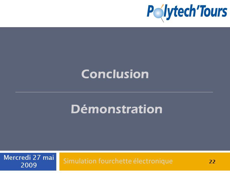 22 Conclusion Démonstration 22 Mercredi 27 mai 2009 22 Simulation fourchette électronique
