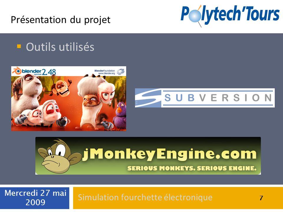 7 Présentation du projet Outils utilisés Mercredi 27 mai 2009 7 Simulation fourchette électronique