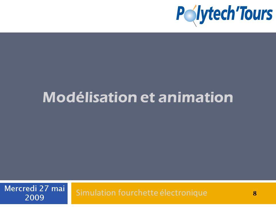 Animations du dispositif Rotation du dispositif : Classe SpatialTransformation Définition de KeyFrame à des temps précis Deux objets à faire tourner : Fourchette Support aimanté Mercredi 27 mai 2009 19 Simulation fourchette électronique