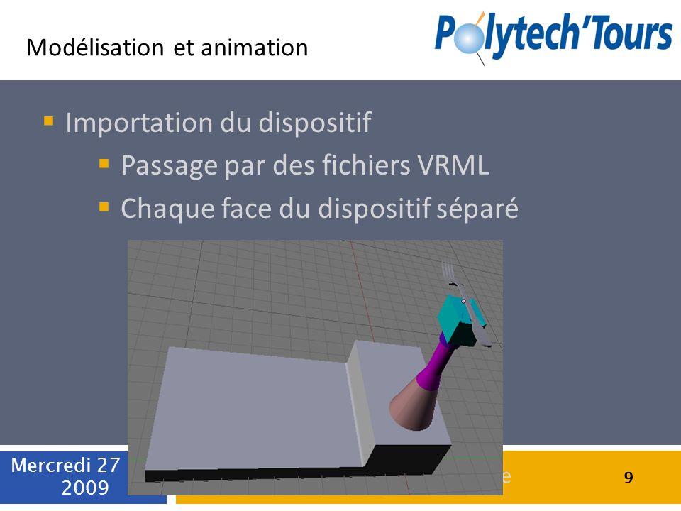 Modélisation et animation Importation du dispositif Passage par des fichiers VRML Chaque face du dispositif séparé 9 Mercredi 27 mai 2009 9 Simulation