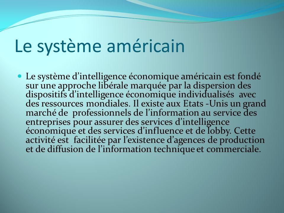 Le système américain Le système dintelligence économique américain est fondé sur une approche libérale marquée par la dispersion des dispositifs dinte