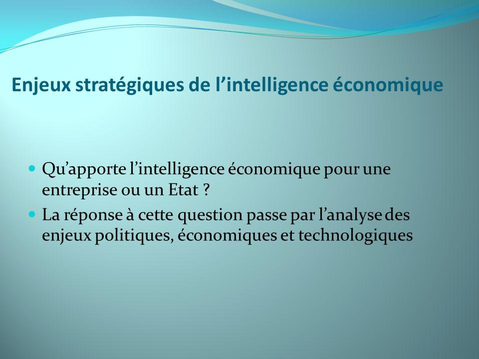 Enjeux stratégiques de lintelligence économique Quapporte lintelligence économique pour une entreprise ou un Etat ? La réponse à cette question passe