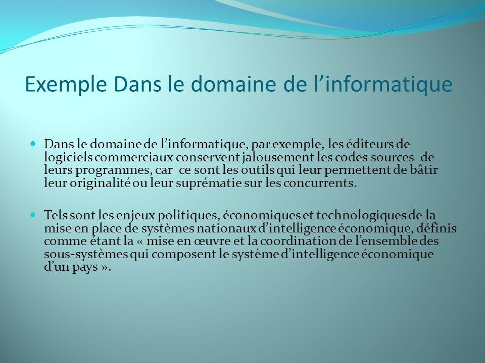 Exemple Dans le domaine de linformatique Dans le domaine de linformatique, par exemple, les éditeurs de logiciels commerciaux conservent jalousement l