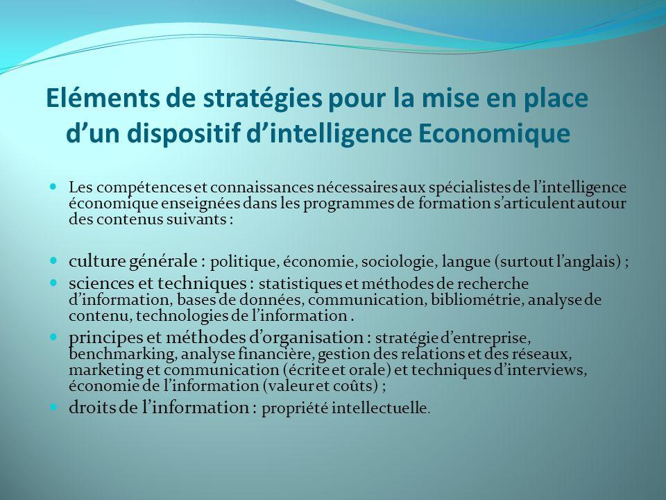 Eléments de stratégies pour la mise en place dun dispositif dintelligence Economique Les compétences et connaissances nécessaires aux spécialistes de