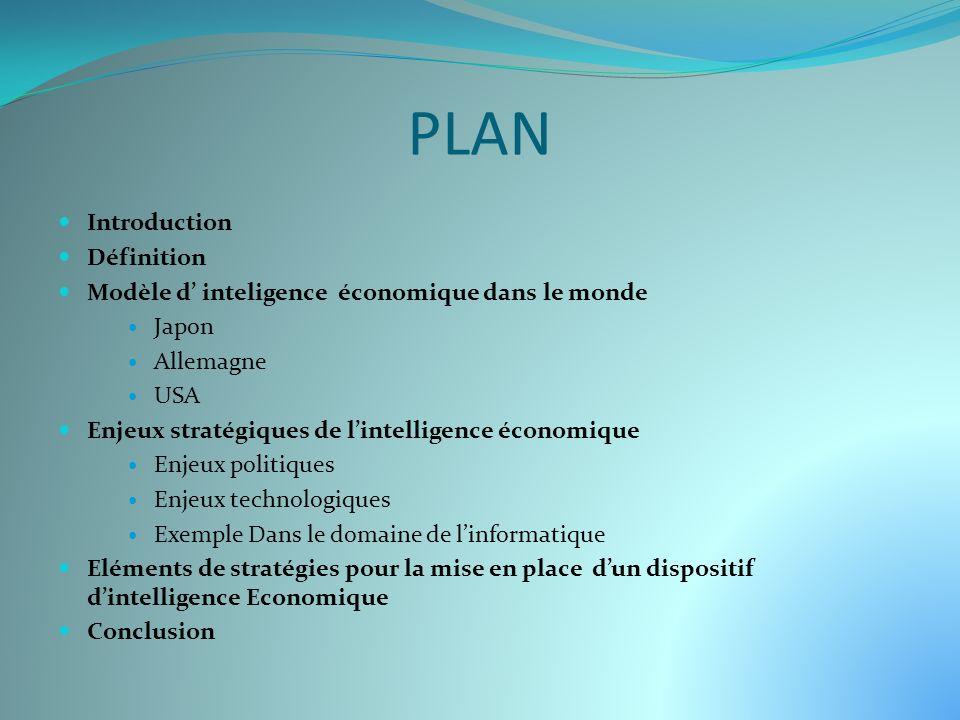 PLAN Introduction Définition Modèle d inteligence économique dans le monde Japon Allemagne USA Enjeux stratégiques de lintelligence économique Enjeux