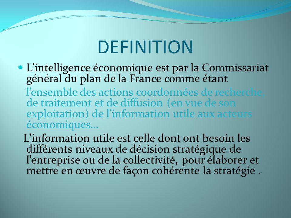 DEFINITION Lintelligence économique est par la Commissariat général du plan de la France comme étant lensemble des actions coordonnées de recherche, d