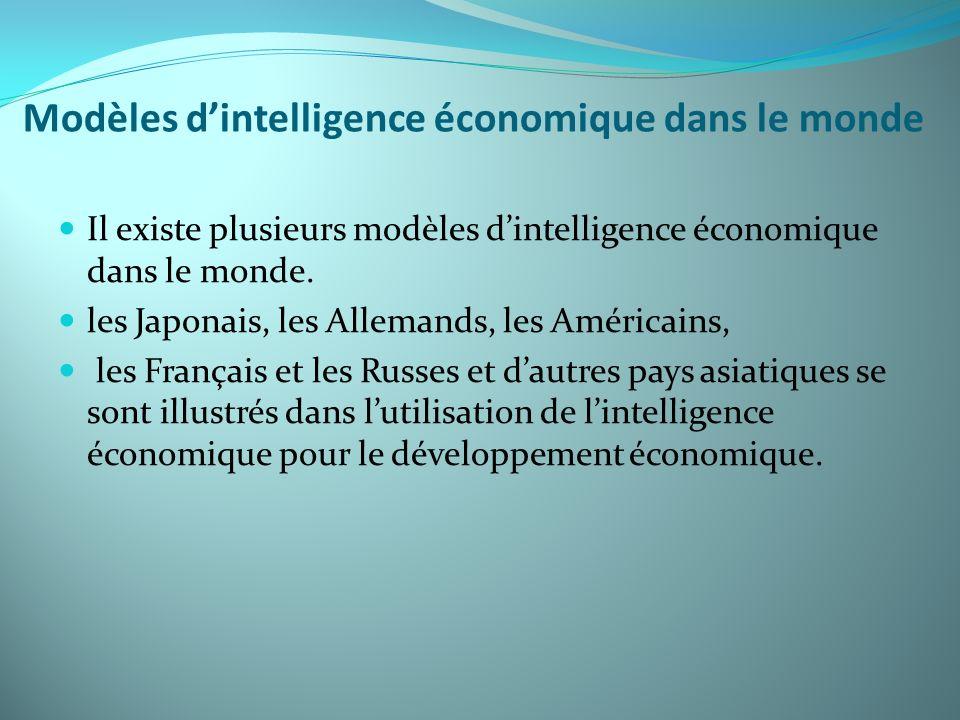 Modèles dintelligence économique dans le monde Il existe plusieurs modèles dintelligence économique dans le monde. les Japonais, les Allemands, les Am