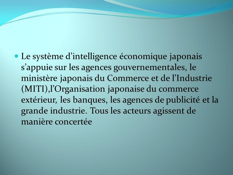 Le système dintelligence économique japonais sappuie sur les agences gouvernementales, le ministère japonais du Commerce et de lIndustrie (MITI),lOrga
