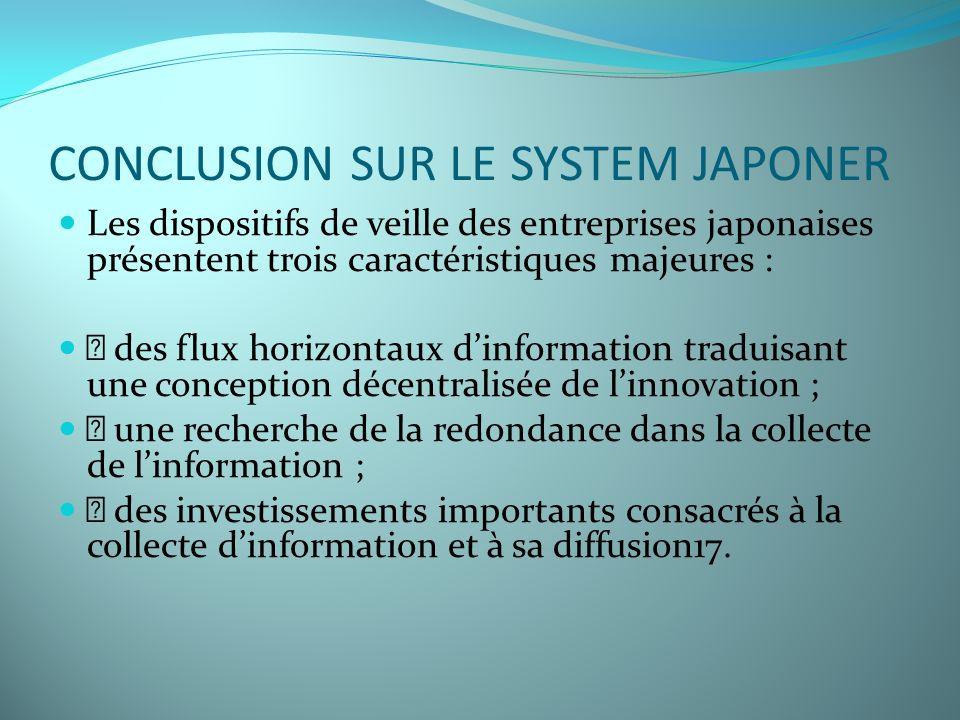 CONCLUSION SUR LE SYSTEM JAPONER Les dispositifs de veille des entreprises japonaises présentent trois caractéristiques majeures : • des flux horizont