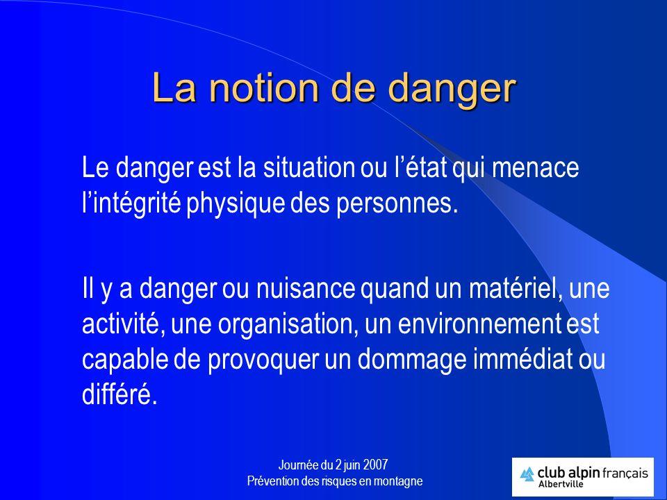 Journée du 2 juin 2007 Prévention des risques en montagne La notion de risque Le risque est la rencontre entre lhomme et le danger.