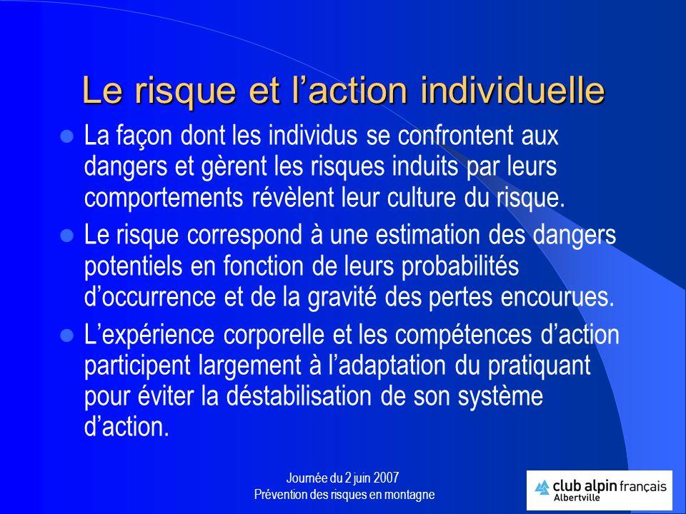 Journée du 2 juin 2007 Prévention des risques en montagne Culture logistique, culture daction et culture sécuritaire