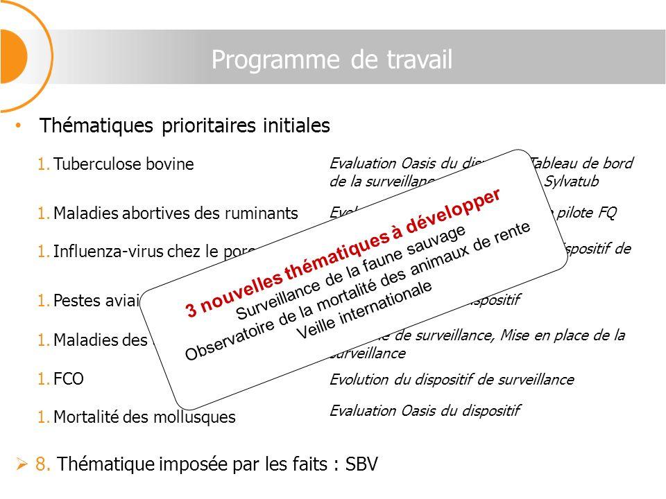 Programme de travail Thématiques prioritaires initiales 1.Tuberculose bovine 1.Maladies abortives des ruminants 1.Influenza-virus chez le porc 1.Peste