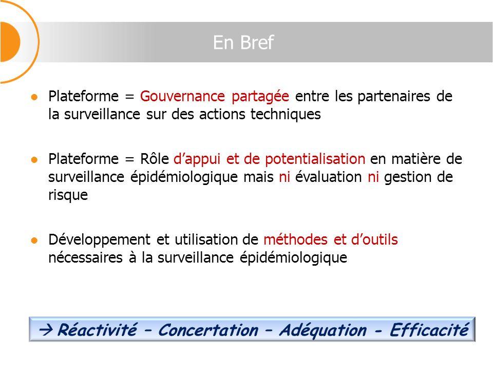 En Bref Plateforme = Gouvernance partagée entre les partenaires de la surveillance sur des actions techniques Plateforme = Rôle dappui et de potential