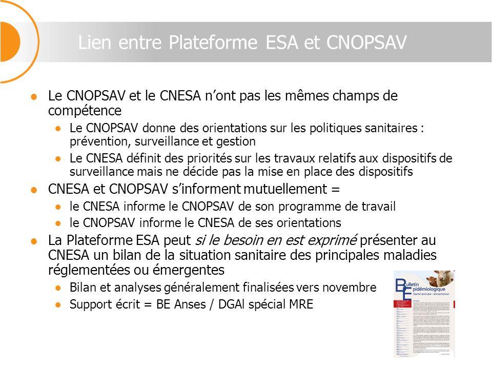 Lien entre Plateforme ESA et CNOPSAV Le CNOPSAV et le CNESA nont pas les mêmes champs de compétence Le CNOPSAV donne des orientations sur les politiqu