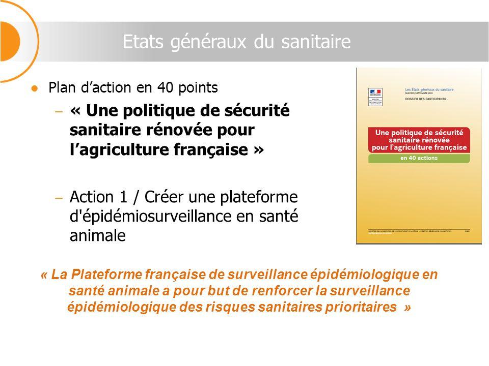Etats généraux du sanitaire Plan daction en 40 points « Une politique de sécurité sanitaire rénovée pour lagriculture française » Action 1 / Créer une