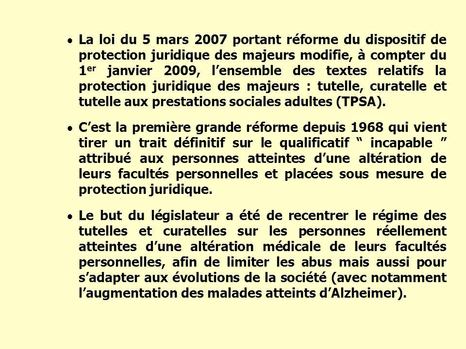 La loi du 5 mars 2007 portant réforme du dispositif de protection juridique des majeurs modifie, à compter du 1 er janvier 2009, lensemble des textes