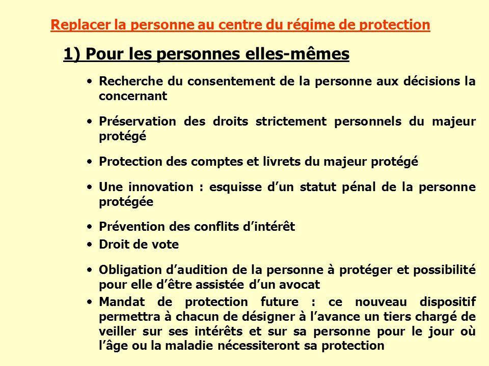 Replacer la personne au centre du régime de protection 1) Pour les personnes elles-mêmes Recherche du consentement de la personne aux décisions la con