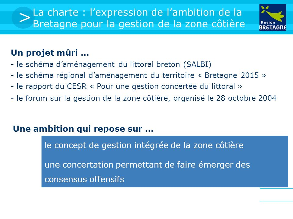 > La charte : lexpression de lambition de la Bretagne pour la gestion de la zone côtière Un projet mûri … - le schéma daménagement du littoral breton (SALBI) - le schéma régional daménagement du territoire « Bretagne 2015 » - le rapport du CESR « Pour une gestion concertée du littoral » - le forum sur la gestion de la zone côtière, organisé le 28 octobre 2004 le concept de gestion intégrée de la zone côtière une concertation permettant de faire émerger des consensus offensifs Une ambition qui repose sur …