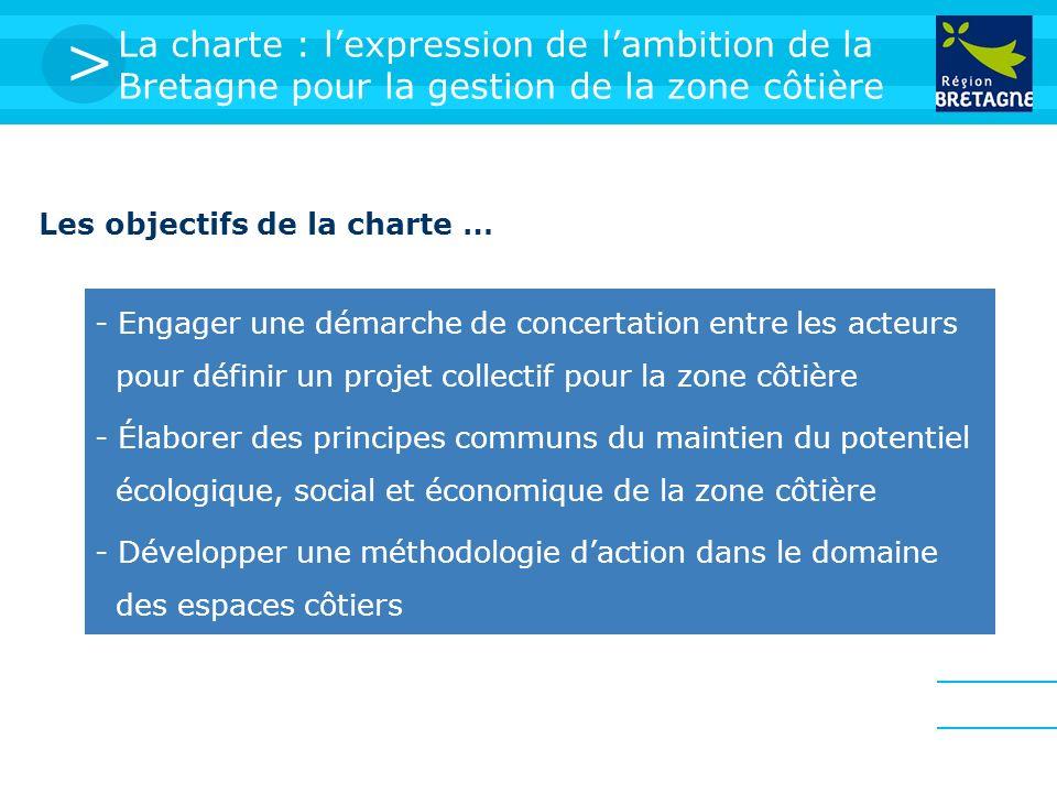 > La charte : lexpression de lambition de la Bretagne pour la gestion de la zone côtière Les objectifs de la charte … - Engager une démarche de concertation entre les acteurs pour définir un projet collectif pour la zone côtière - Développer une méthodologie daction dans le domaine des espaces côtiers - Élaborer des principes communs du maintien du potentiel écologique, social et économique de la zone côtière