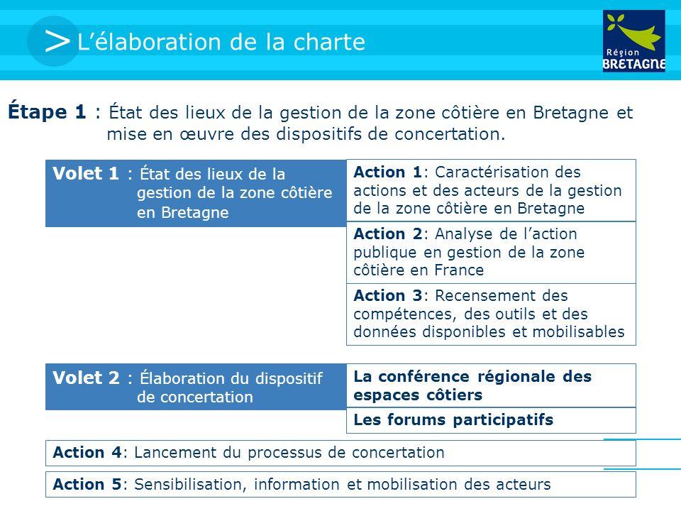 > Lélaboration de la charte Étape 1 : État des lieux de la gestion de la zone côtière en Bretagne et mise en œuvre des dispositifs de concertation. Vo