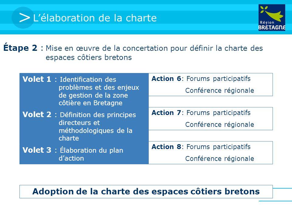 > Lélaboration de la charte Étape 2 : Mise en œuvre de la concertation pour définir la charte des espaces côtiers bretons Volet 1 : Identification des problèmes et des enjeux de gestion de la zone côtière en Bretagne Action 6: Forums participatifs Conférence régionale Volet 2 : Définition des principes directeurs et méthodologiques de la charte Action 7: Forums participatifs Conférence régionale Volet 3 : Élaboration du plan daction Action 8: Forums participatifs Conférence régionale Adoption de la charte des espaces côtiers bretons