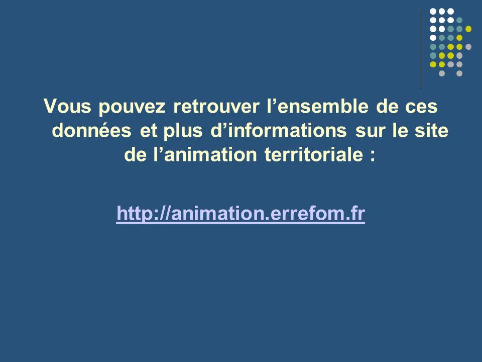 Vous pouvez retrouver lensemble de ces données et plus dinformations sur le site de lanimation territoriale : http://animation.errefom.fr