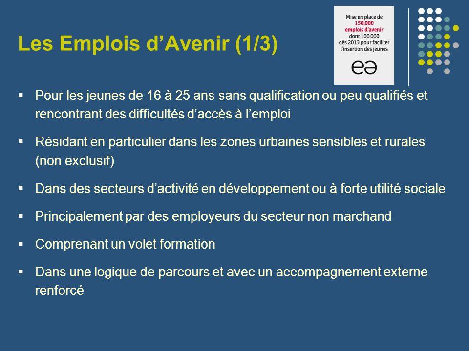 Les Emplois dAvenir (1/3) Pour les jeunes de 16 à 25 ans sans qualification ou peu qualifiés et rencontrant des difficultés daccès à lemploi Résidant