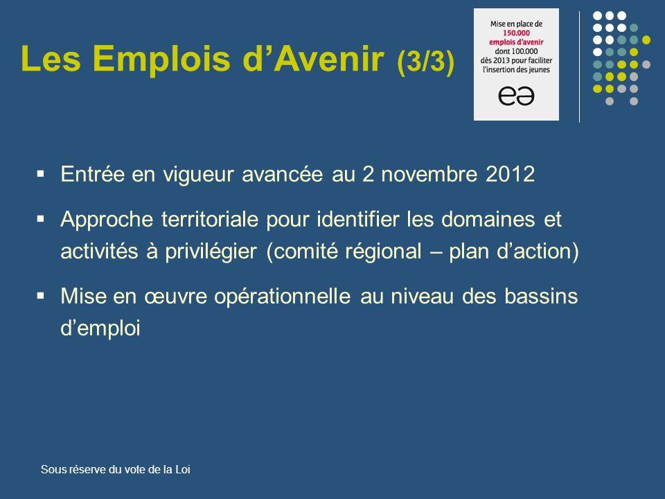 Entrée en vigueur avancée au 2 novembre 2012 Approche territoriale pour identifier les domaines et activités à privilégier (comité régional – plan dac