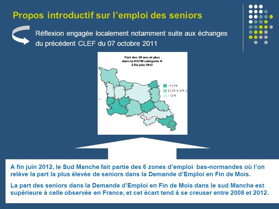 Réflexion engagée localement notamment suite aux échanges du précédent CLEF du 07 octobre 2011 Propos introductif sur lemploi des seniors A fin juin 2