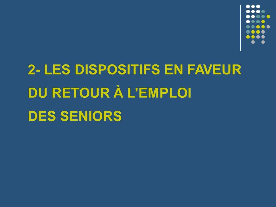 2- LES DISPOSITIFS EN FAVEUR DU RETOUR À LEMPLOI DES SENIORS